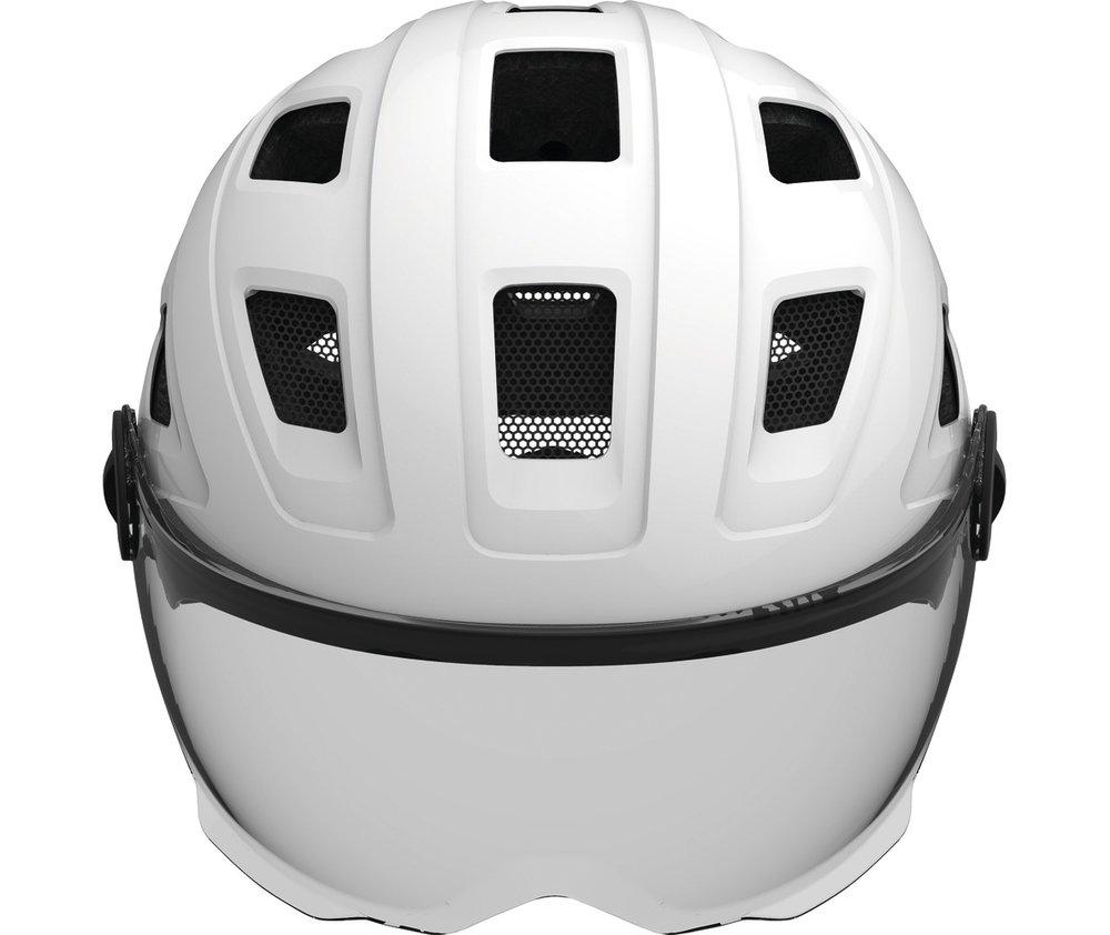 Abus casca de ciclism Hyban+  smoke visor white cream