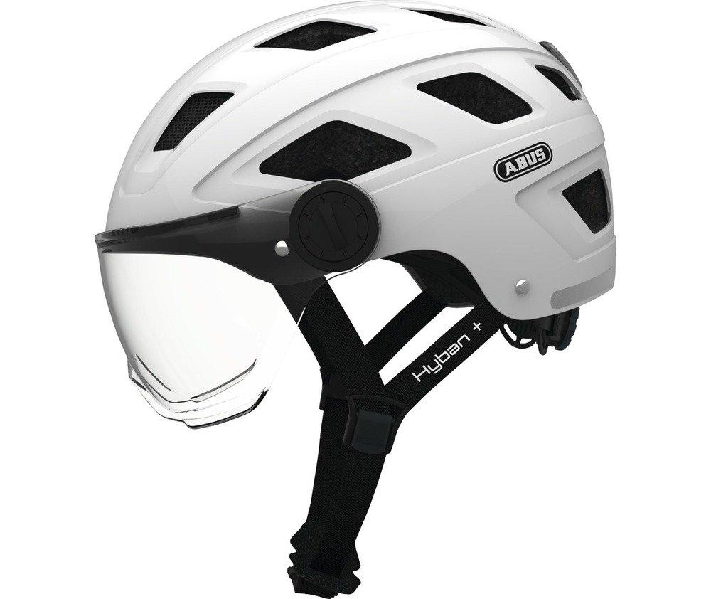 Abus casca de ciclism Hyban+  clear visor cream white