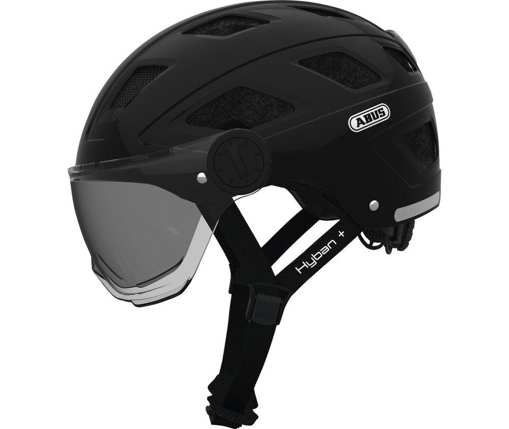 Abus casca de ciclism Hyban+  smoke visor black